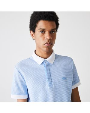 Men's Lacoste Regular Fit Striped Cotton and Linen Piqué Polo Shirt