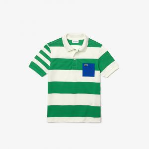 Boys' Lacoste Coloured Pocket Striped Pique Polo Shirt