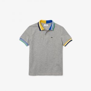 Boys' Lacoste Striped Accents Cotton Pique Polo Shirt
