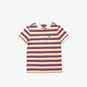 Boys' Lacoste Multicolour Striped Cotton Pique Polo Shirt