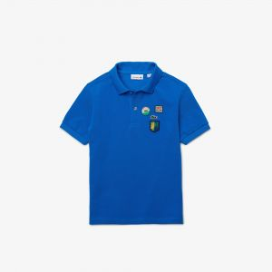 Boys' Lacoste Badges Soft Cotton Pique Polo Shirt
