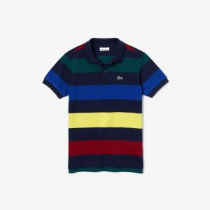 Boys' Lacoste Coloured Stripes Cotton Pique Polo Shirt
