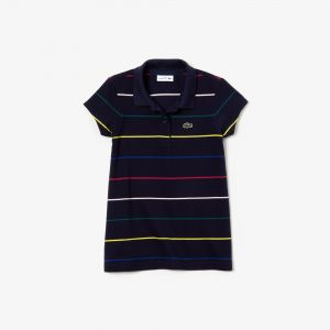 Girls' Lacoste Coloured Pinstripes Cotton Pique Polo Shirt