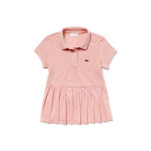 Girls' Lacoste Flat Pleated Cotton Petit Pique Polo