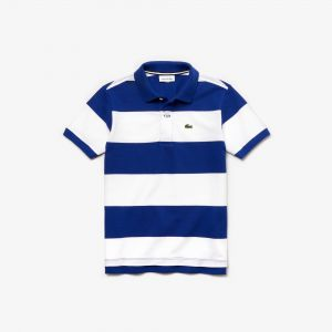 Boys' Lacoste Striped Cotton Petit Pique Polo