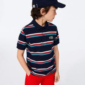 Boys' Lacoste Badge Striped Cotton Pique Polo Shirt