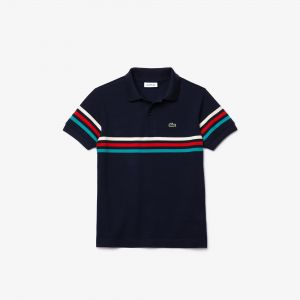 Boys' Lacoste Tricolour Striped Cotton Pique Polo Shirt