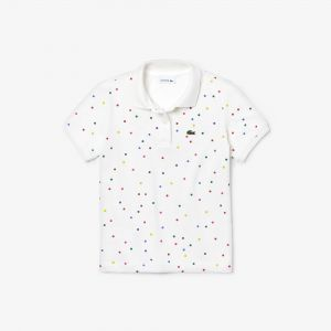 Girls' Lacoste Coloured Polka Dot Cotton Pique Polo Shirt