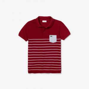 Boys' Lacoste Contrast Pocket Striped Cotton Pique Polo Shirt