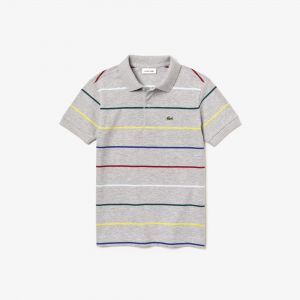 Boys' Lacoste Coloured Pinstripes Cotton Pique Polo Shirt