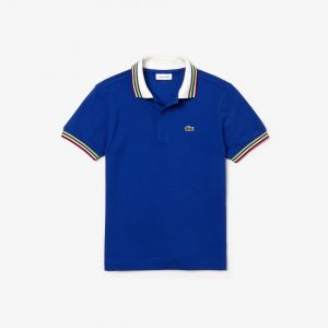 Boys' Lacoste Striped Ribbed Cotton Pique Polo Shirt