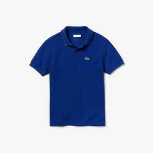 Boys' Lacoste Signature Embroidery Cotton Pique Polo Shirt