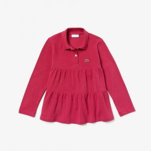 Girls' Lacoste Flounced Cotton Pique Polo Shirt