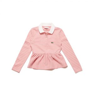 Girls' Lacoste Striped Pique Polo