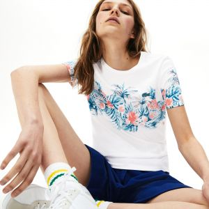 Women's Crew Neck Floral Printed Cotton T-Shirt