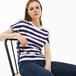 Women's Crew Neck Colorblock Striped Cotton Jersey T-Shirt