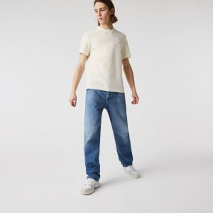 Men's Crew Neck Striped Cotton and Linen T-shirt