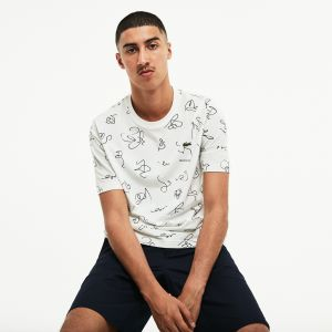 Men's Lacoste L!Ve Crew Neck Doodle Print Cotton Jersey T-Shirt