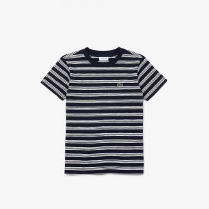 Boys' Crew Neck Tricolour Striped Cotton T-shirt