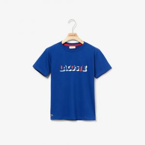 Boys' Crew Neck 3D Effect Lacoste Lettering Cotton T-Shirt