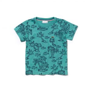 Boys' Crew Neck Palm Print Cotton Jersey T-Shirt