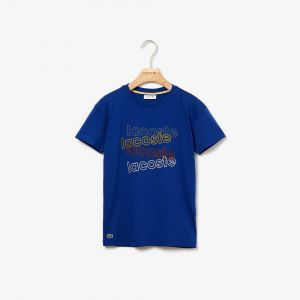 Boys' Crew Neck Lacoste Print Cotton T-Shirt
