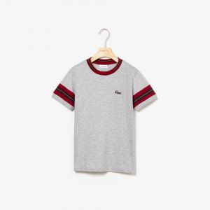 Boys' Crew Neck Contrast Striped Sleeves Cotton T-Shirt