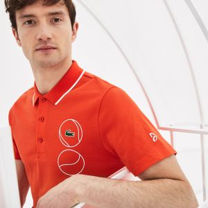 Men's Lacoste Sport Novak Djokovic Collection Print Ultra Light Cotton Polo Shirt