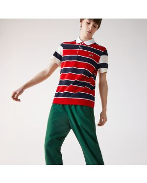 Men's Lacoste Regular Fit Striped Ultra-Lightweight Knit Polo Shirt